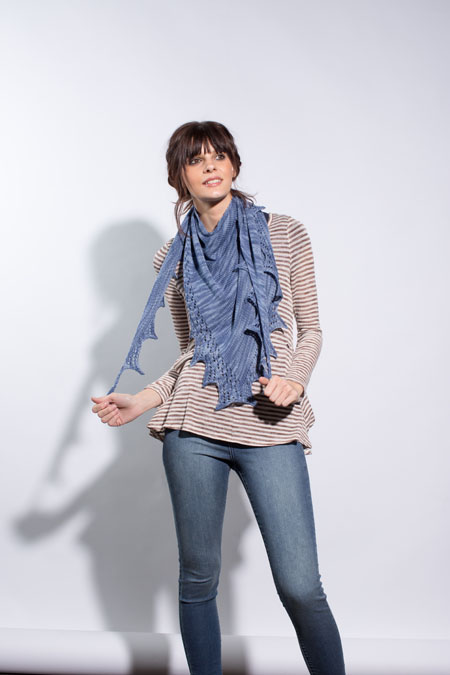 If you like shawls, then you'll LOVE this shawl knitting pattern titled Winter Park Shawl that involves the stockinette stitch and more!