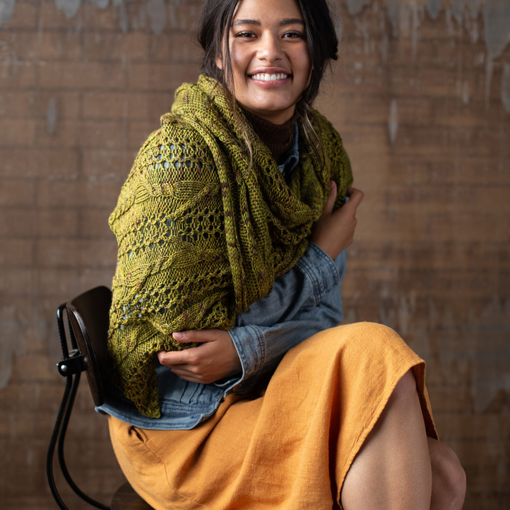 The Winding Roads Shawl from Interweave Knits Fall 2019.