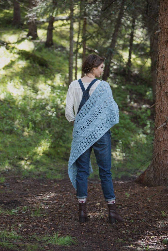 Don't miss this Sampler Stole shawl knitting pattern that has a bit of everything-circular lace pattern flanked by cables, edged by open purl-faced pattern.