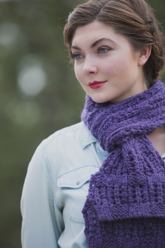 The extra-long, chunky Lace Basket Scarf knitting pattern features an unusual stitch combination of knit purl basketweave and lace.