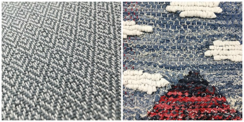 How I Got Started Weaving: LEFT a broken twill RIGHT A rag tapestry in process