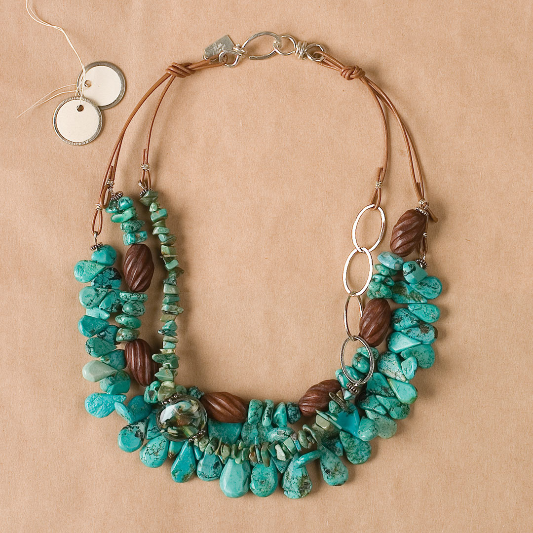 Turquoise Textures gemstones necklace by Lisa Lampe