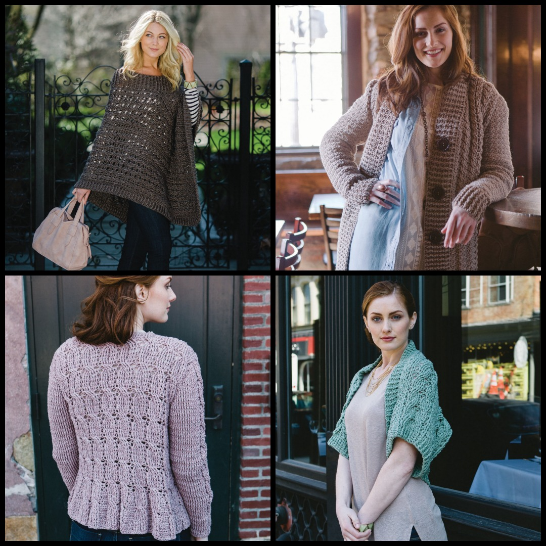 Clockwise from top left: Lavena Poncho, Orlaith Robe Sweater, Fergus Shrug, and Binne Cardigan from <em>Celtic Cable Crochet.</em> Photos by Chris Demsey.