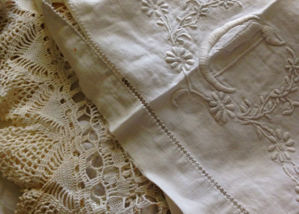 Sallie Carter's cotton crocheted lace and embroidered linens. Photo: Kate Larson.