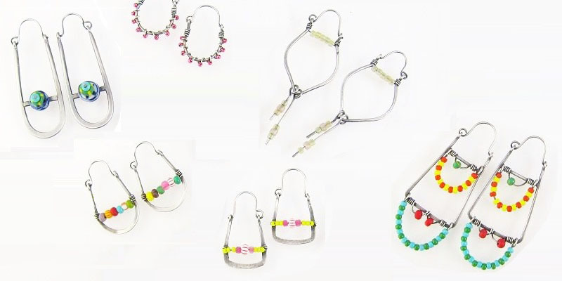 Bead-Embellished Hoop Earrings by Laurel Nathanson