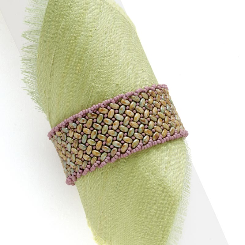 Bead Weaving: Start Your Spring with Beaded Leaves and Flowers with Huib Petersen. Lavender Weave Bracelet by Shae Wilhite