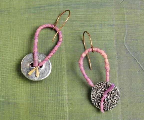 make earrings with buttons and cord
