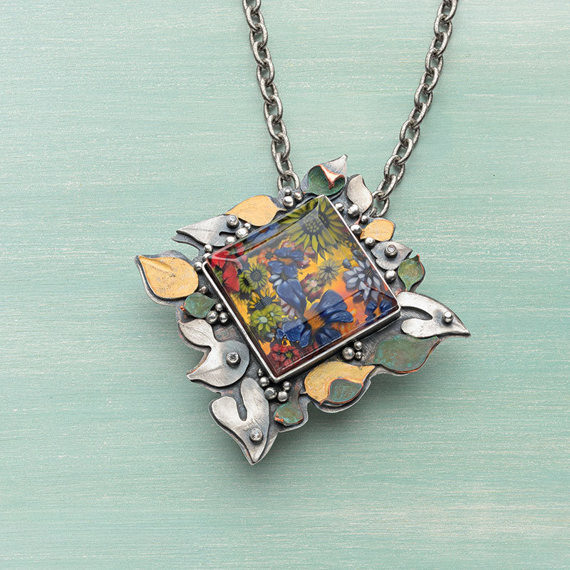 Lexi Erickson delights in this end-of-summer inspired pendant, Guinevere's Lament. Photo, Jim Lawson