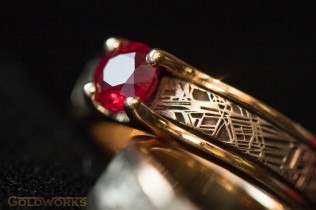 Colored gemstones are becoming popular as engagement ring stones. Ruby, the color of passion, is an exceptional choice. Courtesy Tom Linenberger, Goldworks, Fort Collins, Colorado.