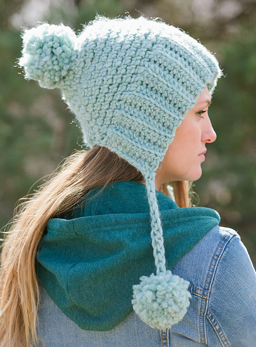 Side view of Long Division Crochet Hat