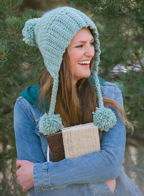 Long Division Crochet Hat with 3 pom-poms
