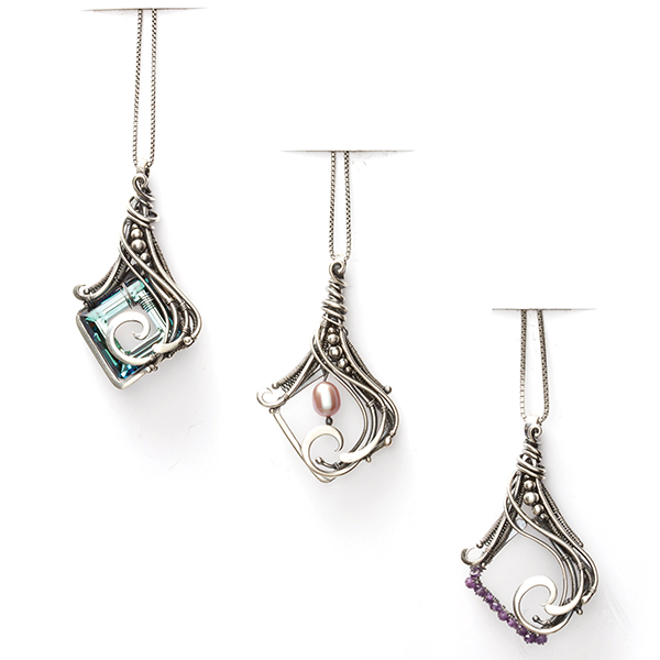 wire jewelry: Lorelei pendant by Sarah Thompson in Woven in Wire