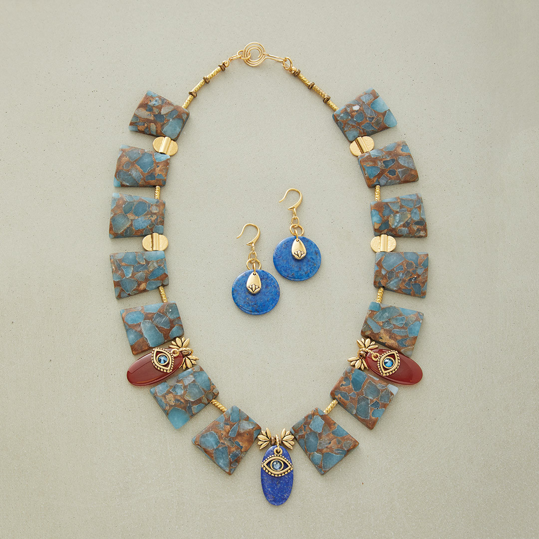 Sandra Lupo's Cleo's Collar gemstones evil eye necklace