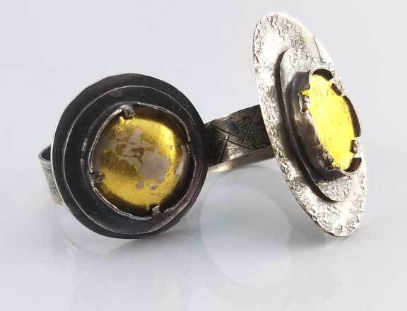 Debora Mauser teaches this Golden Star Ring at Bead Fest 2019. The focal is keum-boo, the setting is clever, and the shank is adjustable.