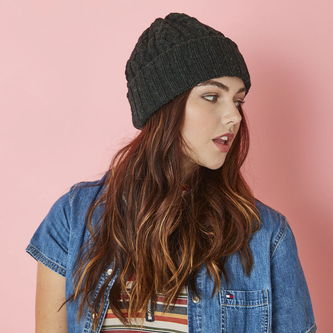 The Midnight Cap is knit in Harrisville Designs Nightshades (VCR colorway).
