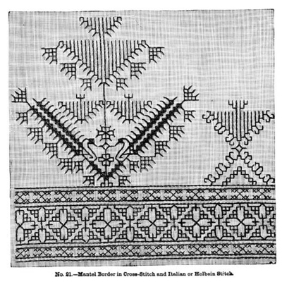 Mantel Border in Cross-Stitch and Italian or Holbein Stitch.