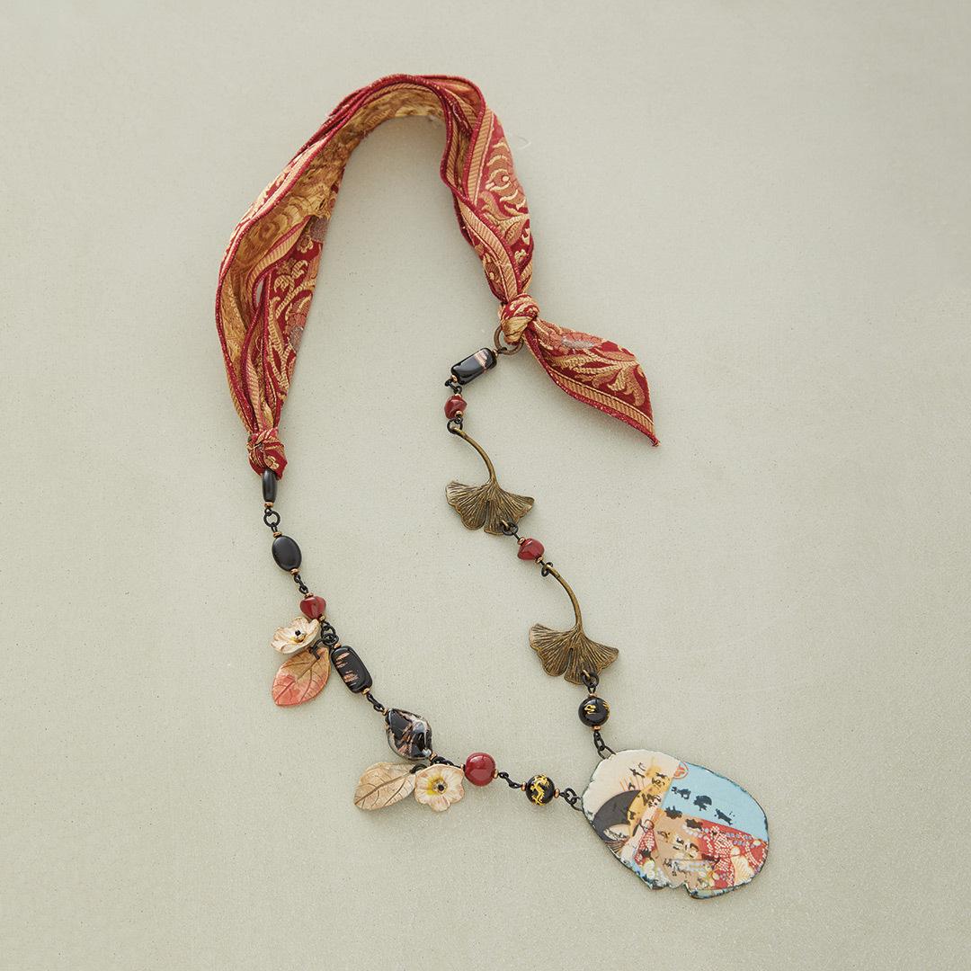 Michelle McEnroe's Gingko Leaf necklace sari silk ribbon