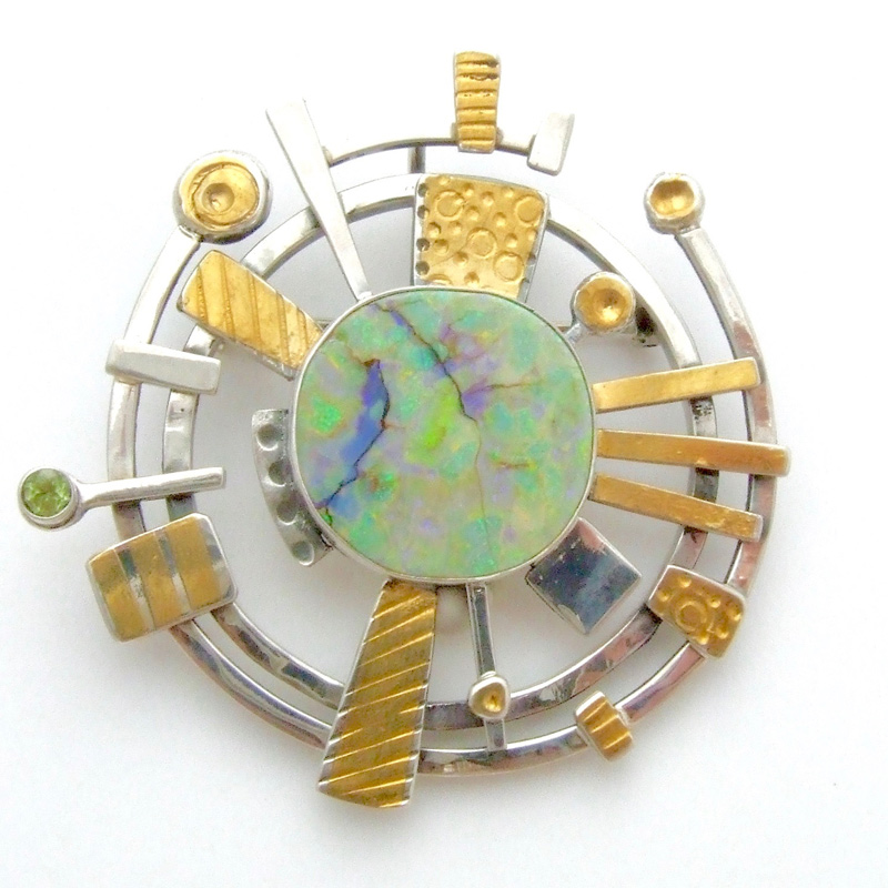 Opal and Peridot Brooch designs by jewelry artist Lesley McKeown