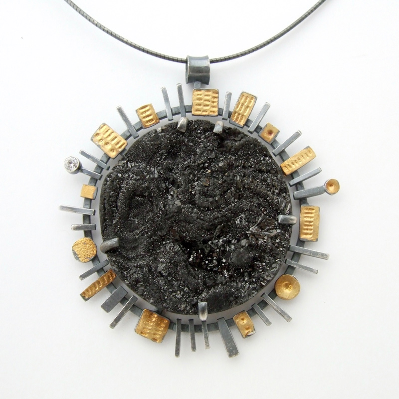 Midnight Druzy Pendant and necklace designs by jewelry artist Lesley McKeown