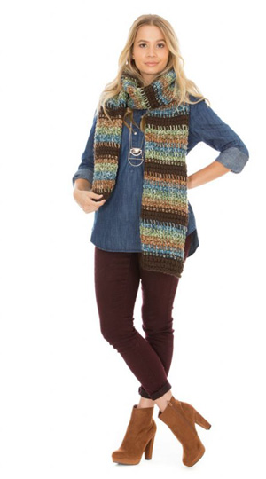 Free Pattern: Meryl's Tunisian Scarf knits up so fast with bulky yarn!