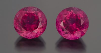 These round brilliant rubellites (18.58 carat total weight) show why this variety of tourmaline is one of the most sought after gemstones, in finer qualities, because of its rich, hot pink to red colors. Photo Mia Dixon, courtesy Pala International.