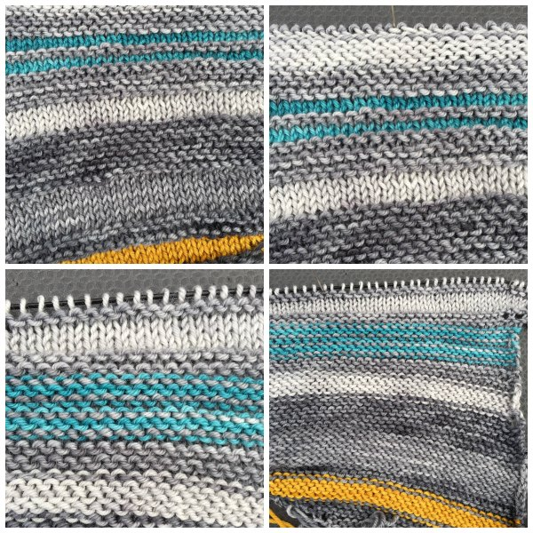 Clockwise from upper left: The right side of the shawl, a close-up of my mistake (the really big garter-stitch section at the top that should be a few rows of garter stitch and then a few rows of stockinette), the wrong side of the shawl, a close-up of the stockinette section that should be on the right side.