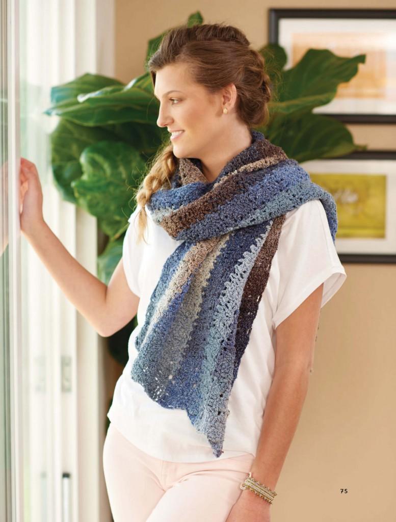Driftwood Blues Mini Tile Crochet Wrap, Continuous Crochet by Kristin Omdahl