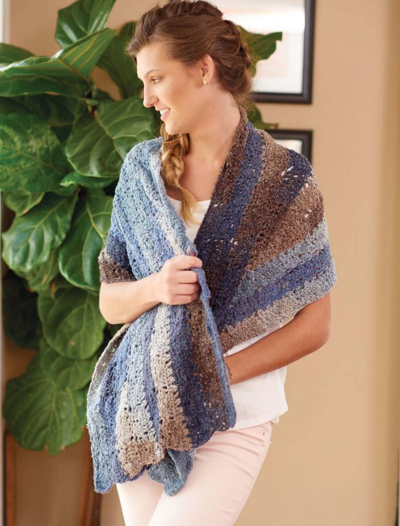 Driftwood Blues Mini Tile Crochet Wrap, Continuous Crochet  by Kristin Omdhal
