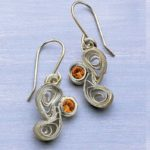Paper Quilling Reborn as Earrings in Quilled Metal Clay Jewelry
