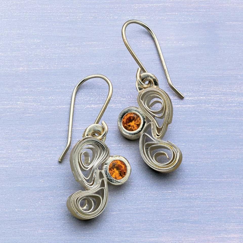 Quilled Metal Clay Earrings by Arlene Mornick