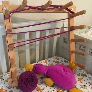 Weaving With a Baby: Now that she has a baby, Christina takes the warping process piece-by-piece, even if it means taking a week to do what used to take a day. This way she can enjoy the process of warping and her baby.