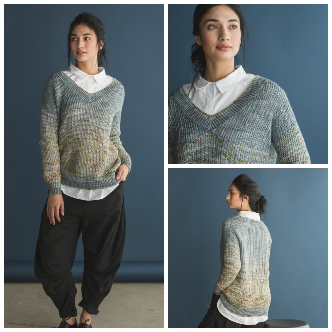 The Murray Pullover is a sweater knitting pattern that uses hand-painted variegated yarn.