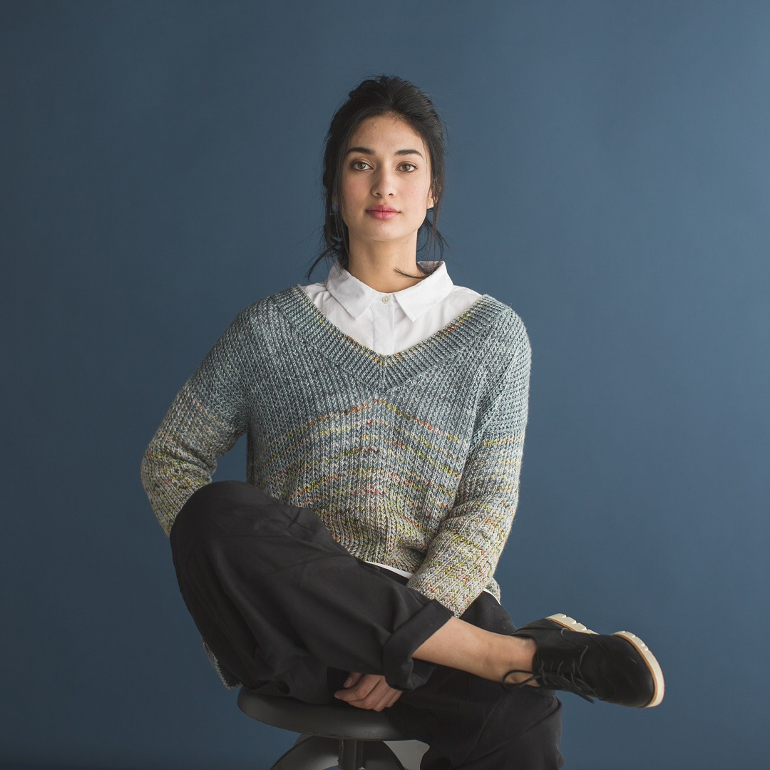 The Murray Pullover used two hand-painted colorways of Ancient Arts Nettle Soft in a simple but striking sweater pattern.