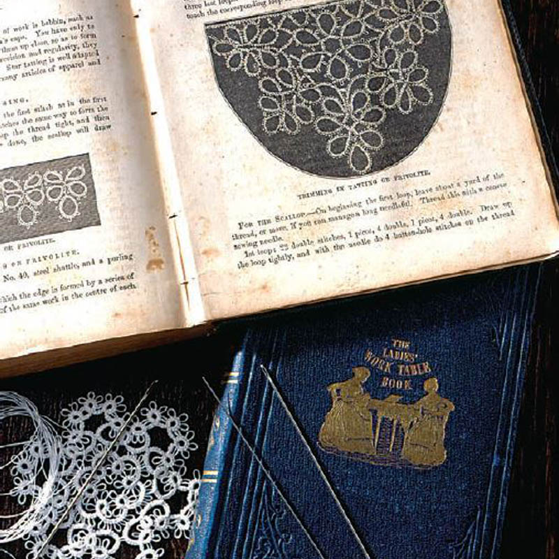 Georgia Seitz: The Ladies' Work-Table Book (1843) and The Ladies' Handbook of Fancy and Ornamental Work (1861). Both contain instructions for needle tatting, but the technique described was actually a description of shuttle tatting, using a needle in place of a shuttle. Collection of Barbara Foster. Photo by Joe Coca.