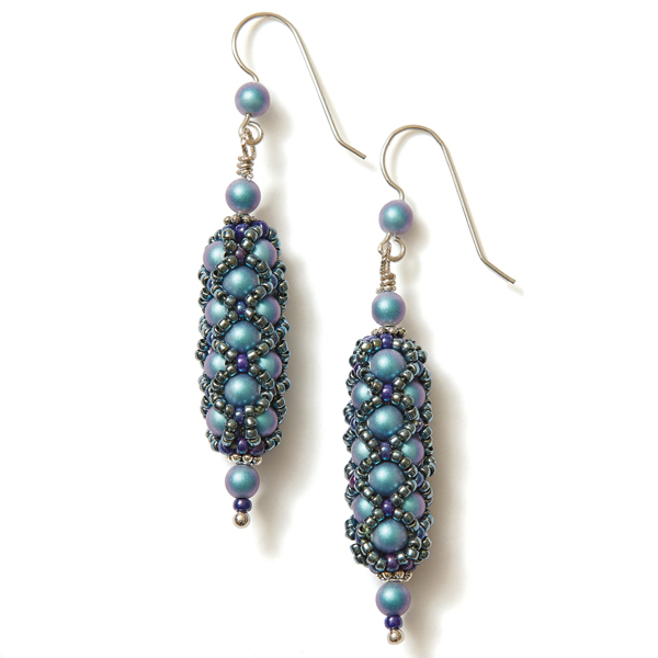 Netted Pearl Earrings Blue Colorway