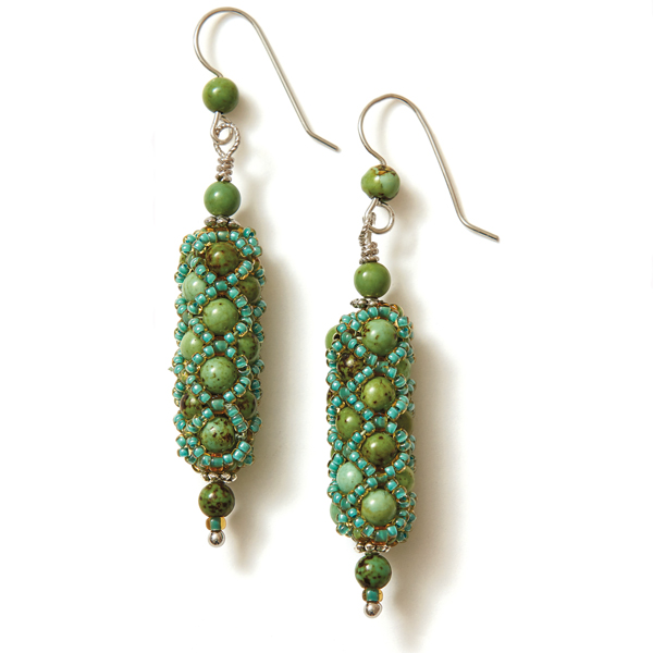 Netted Pearl Earrings Green Colorway
