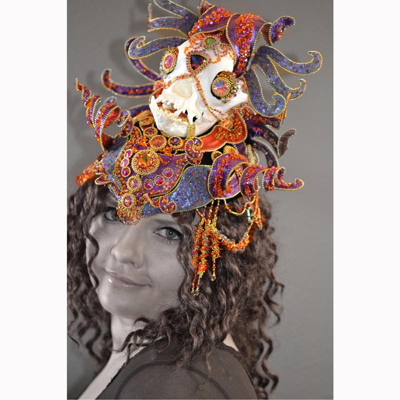Bead embroidery headdress made by beading artist Kinga Nichols