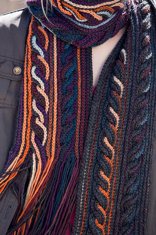 Details Shot of Obion Scarf Crochet Cables