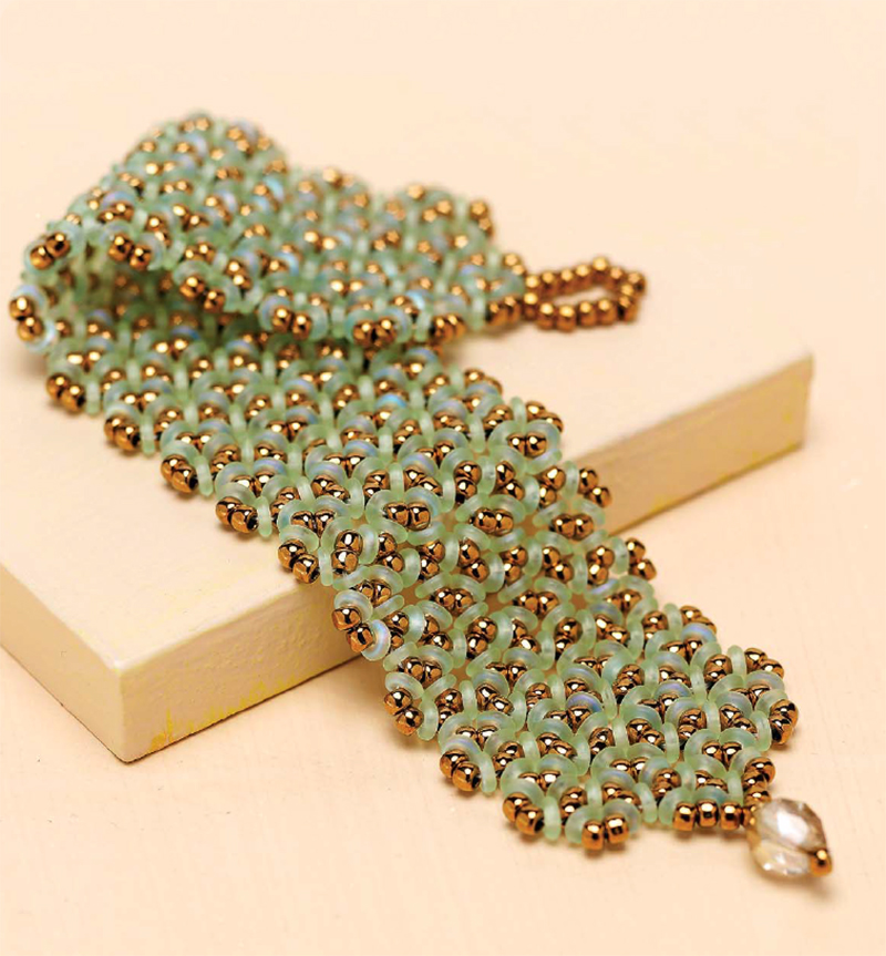 """O"" So Charming Bracelet, by Megan Milliken; triangle-weave bracelet using seed beads and O beads"