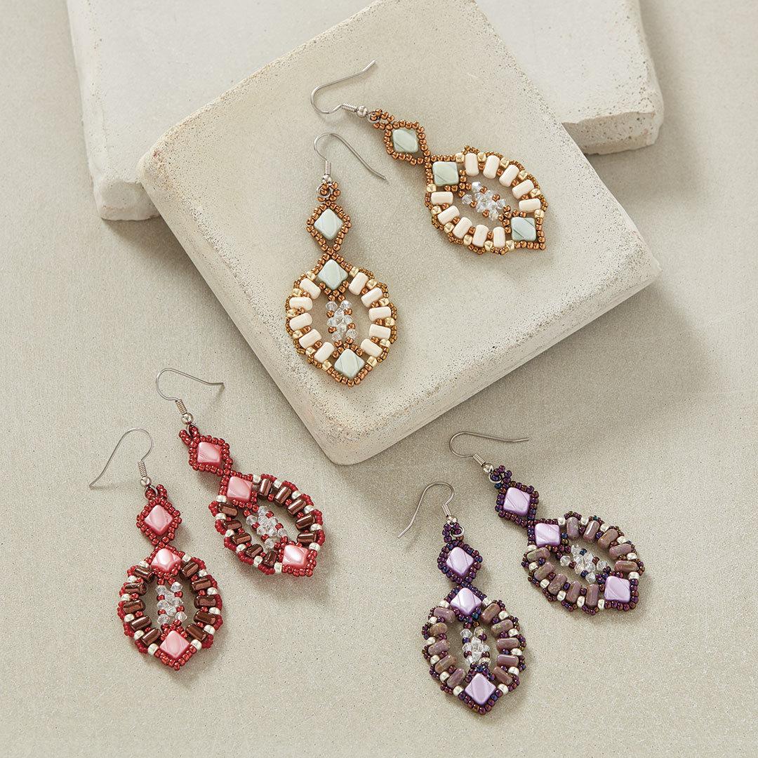 Champagne Serenade Earrings by Evelína Palmontová easy beading