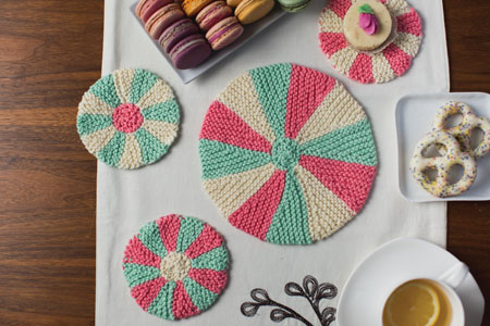You'll love this knitted home decor: the Park Lane Coaster and Trivet Set was inspired by vintage dishes and china sets of the 1920s.