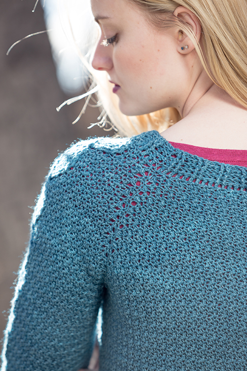 Back view of Passaic Pullover crochet sweater