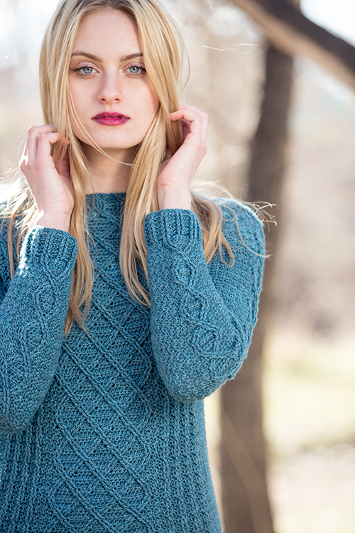 Cables on sleeves and front of Passaic Pullover crochet sweater