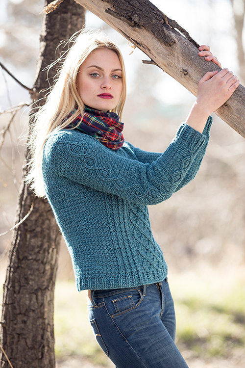 Side View of Passaic Pullover Crochet Sweater