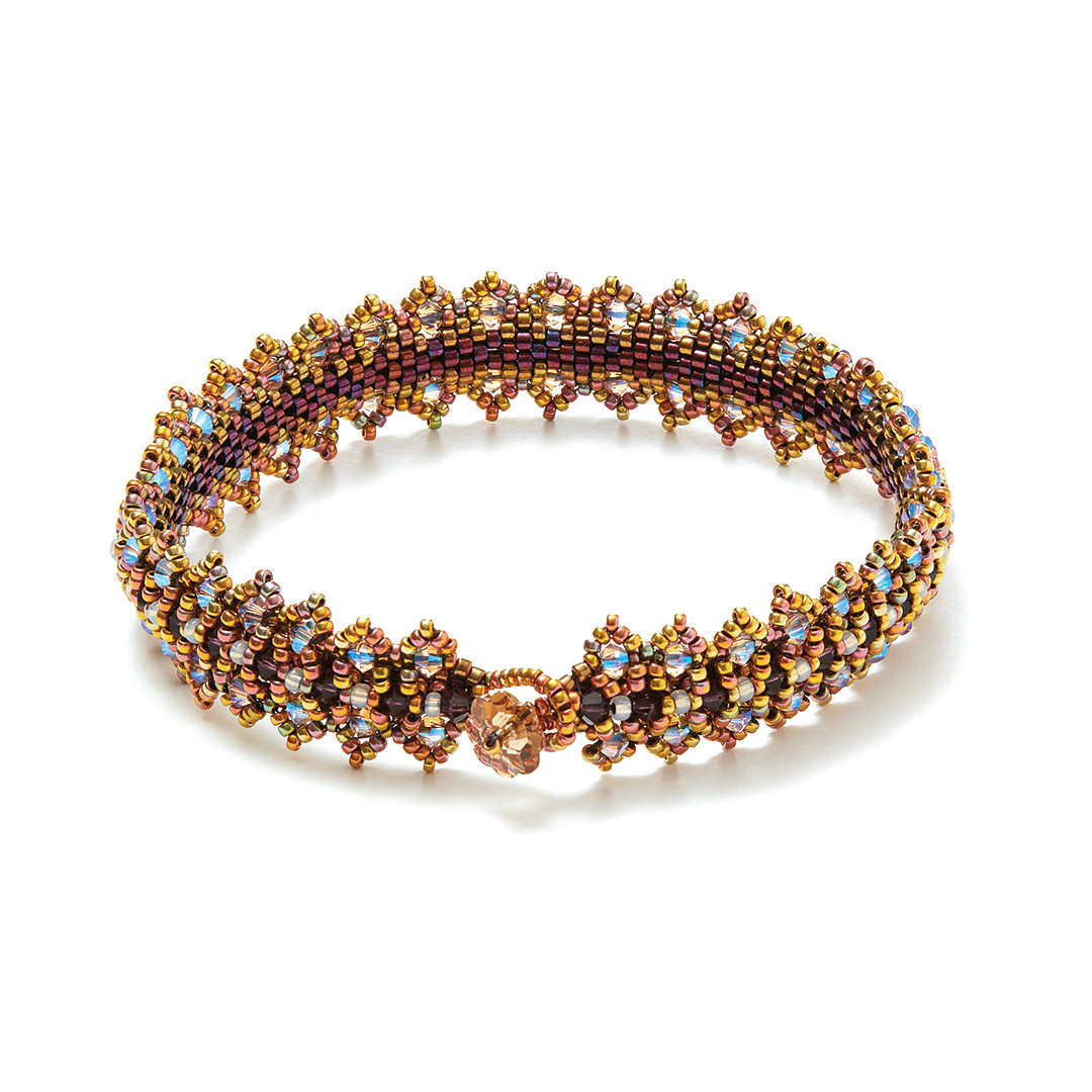Regina Payne's Royal Countess Cuff using seed beads