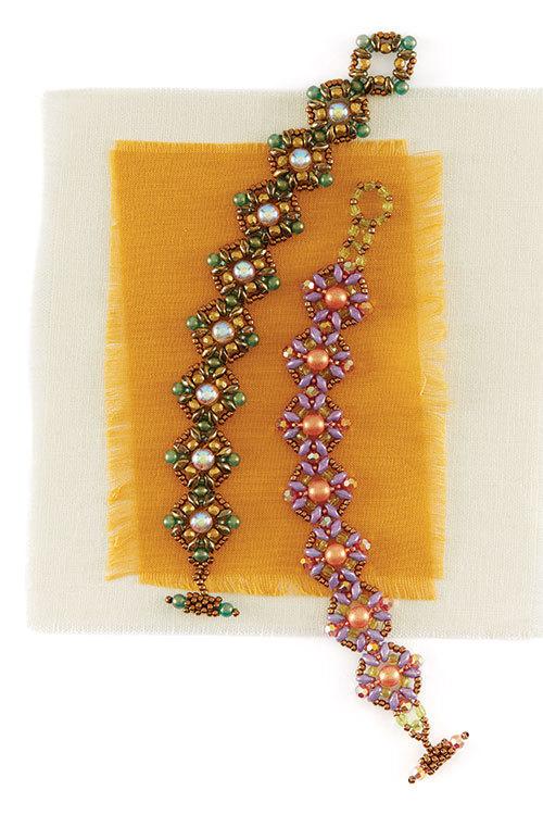 Peach Fizz Bracelet from Quick + Easy Beadwork 2017 by Melissa Grakowsky Shippee