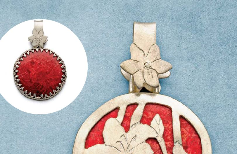 Peggy Haupt's Coral and Floral pendant