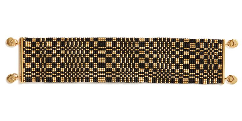 Loomed Illusion Bracelet: Black/Gold Colorway