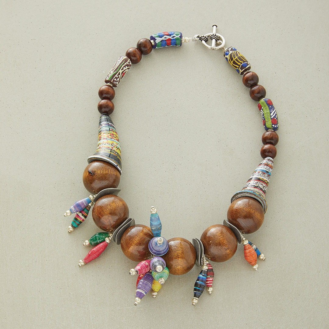 Anne Perry's Afrobeat stringing necklace wooden beads paper bead
