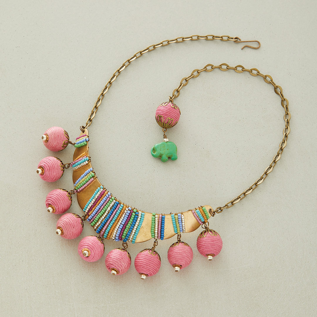 Anne Perry's Bollywood Swingin' necklace fabric beads pink
